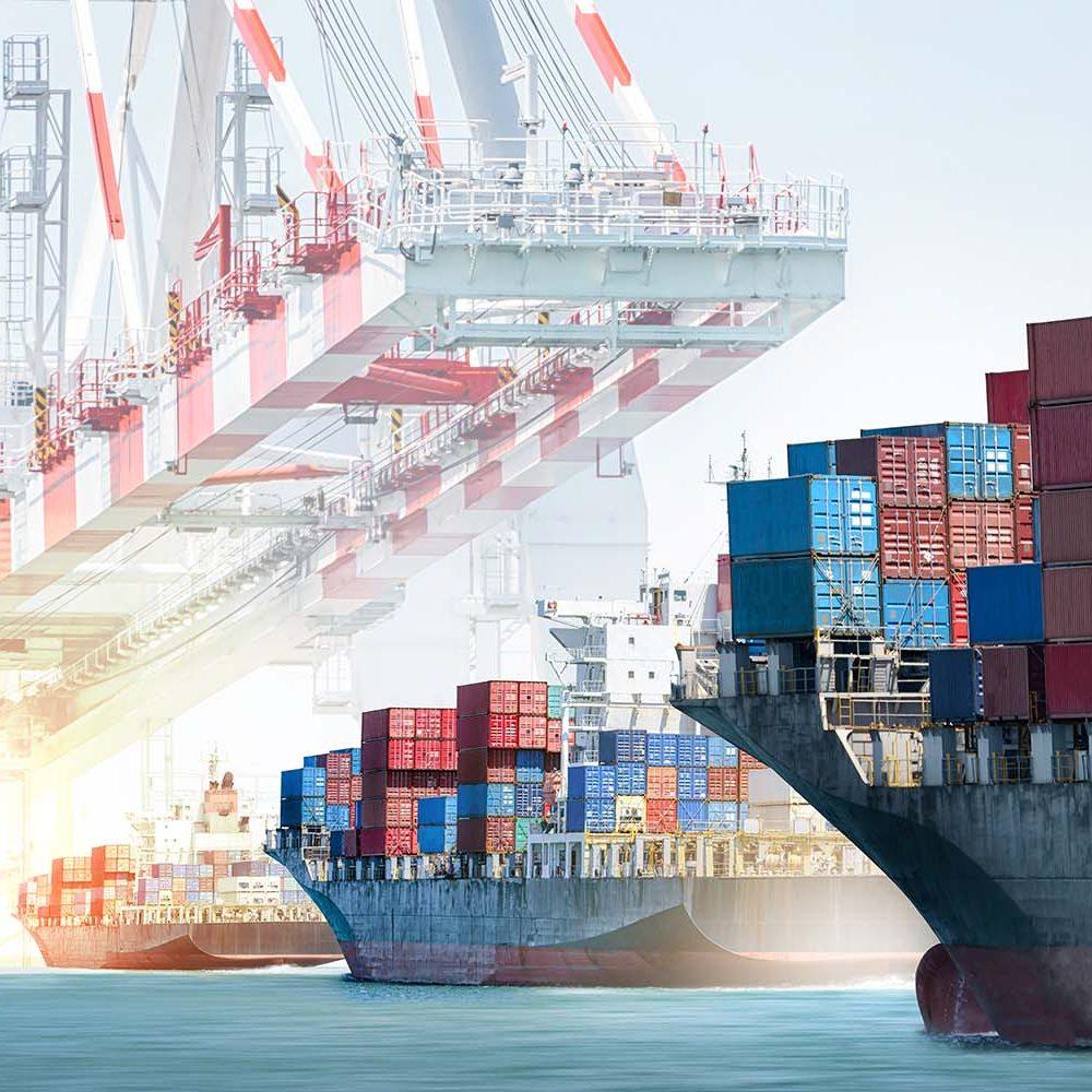 Container cargo ship entering the port.